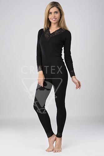 """Женское термобелье """"Шерсть+Шелк"""" Cratex, брюки Люкс  (цвет черный) Созвездие Красоты 2529.000"""