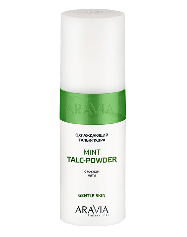 Купить Косметика для депиляции Aravia, Охлаждающий тальк-пудра с маслом мяты Mint Talc-Powder, ARAVIA Professional, 150 мл