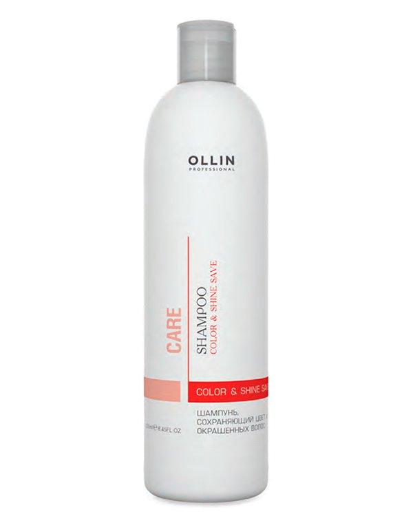 Шампунь сохраняющий цвет и блеск окрашенных волос Color&amp;Shine Save Shampoo OllinШампуни для окрашеных волос<br>Шампунь восстанавливает структуру окрашенных волос, делает цвет насыщенным и ярким.<br><br>Бренды: Ollin<br>Вид товара: Шампунь<br>Область ухода: Волосы<br>Назначение: Восстановление волос, Защита цвета, Очищение волос<br>Тип кожи, волос: Окрашенные, Осветленные, мелированные<br>Косметическая линия: Линия Care уход за волосами и кожей головы<br>Объем мл: 1000
