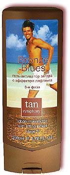 Гель-активатор загара с эффектом лифтинга Bronze Blues 3-я фаза Tan Symphony, 200млКосметика для автозагара и солярия<br>Легкая эмульсия для усиления загара на основе компонентов морской воды, максимально быстро обеспечивает глубокий, ровный, натуральный загар.<br>