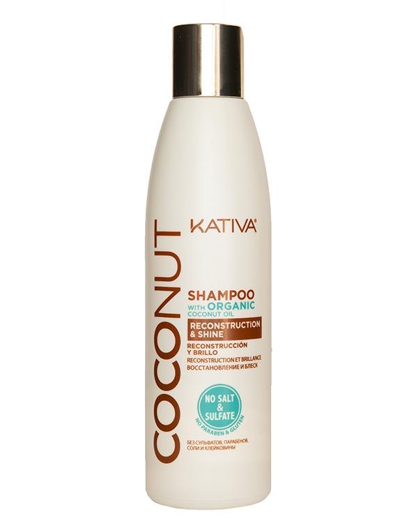 Купить Шампунь Kativa, Восстанавливающий шампунь с органическим кокосовым маслом для поврежденных волос Coconut, Kativa, ПЕРУ