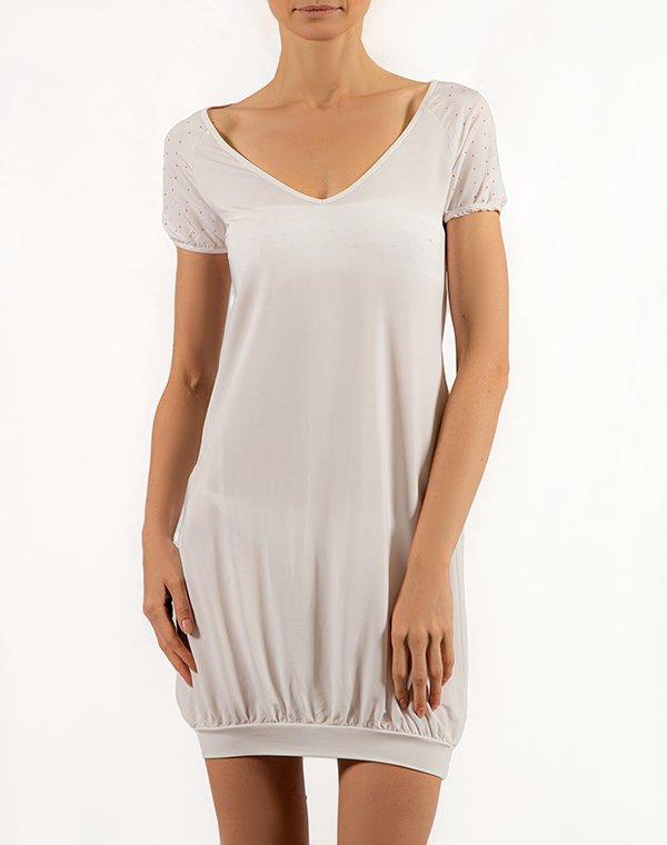 Patrizia Pepe футболка-туника белая со стразами на руковах BEACHWEARФутболки<br>Состав: 97% вискоза, 3% эластан<br><br>Размер: L,M,S,XL,XS
