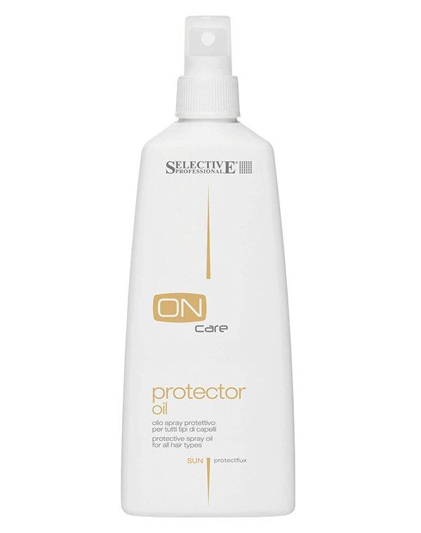Защитное масло-спрей Protector oil, SelectiveМасла от секущихся кончиков<br>Защитное масло спрей отлично подходит для предохранения от воздействия внешних факторов. Волосы хорошо противостоят повреждениям от солнца, ветра, морской соли, превосходно удерживают влагу.<br><br>Бренды: Selective<br>Вид товара: Масло для волос<br>Область ухода: Волосы<br>Назначение: Восстановление волос, Защита от солнца, Для секущихся кончиков, Восстановление и защита<br>Тип кожи, волос: Осветленные, мелированные, Окрашенные, Вьющиеся, Сухие, поврежденные, Нормальные, Тонкие<br>Косметическая линия: ON CARE Nutrition Линия для восстановления поврежденных волос