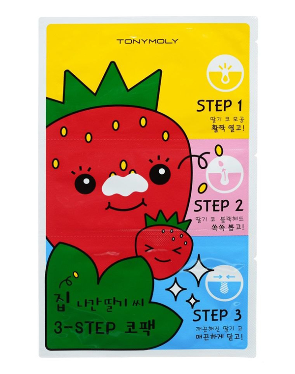 Нетканная маска, патч Tony Moly Пластыри для носа против черных точек Homeless Strawberry Seeds 3-step Nose Pack, Tony Moly спонж tony moly water latex free sponge 1 шт