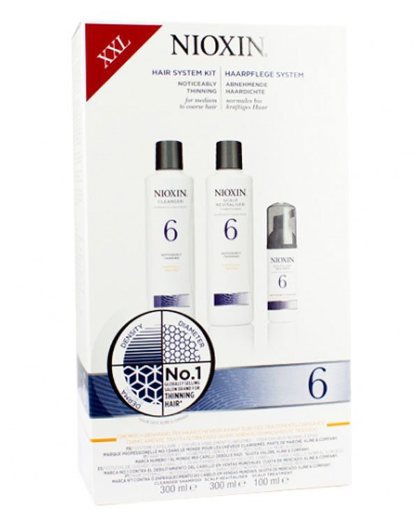 Набор XXL система 6 NioxinШампуни для лечения волос<br>Программа для жёстких волос, поврежденных окрашиванием, останавливает выпадение.<br><br>Бренды: Nioxin<br>Вид товара: Шампунь, Кондиционер, бальзам, Маска для волос<br>Область ухода: Волосы<br>Назначение: Увлажнение и питание, Для объема<br>Тип кожи, волос: Осветленные, мелированные, Окрашенные, Сухие, поврежденные, Нормальные<br>Косметическая линия: Линия Система 6 Для средних/жестких химобработанных/натуральных заметно редеющих