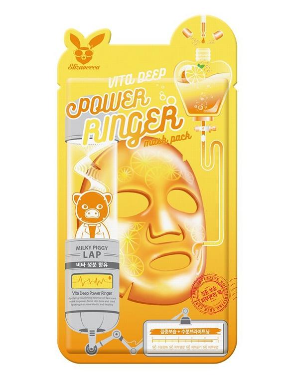 цена на Маска для сияния кожи лица Vita Deep Power Ringer Mask Pack Elizavecca, 23 мл х 10 шт
