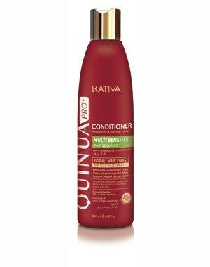 Ревитализирующий кондиционер QUINUA PRO Kativa, 250 мл.Профессиональная косметика для волос<br>Кондиционер с протеинами киноа для ухода за поврежденными и ослабленными волосами питает волосы и защищает от повреждений, восстанавливает упругость и блеск волос. Формула содержит УФ-фильтры для защиты волос от выгорания. Кондиционер усиливает действие р...<br><br>Бренды: Kativa<br>Вид товара: Кондиционер, бальзам<br>Область ухода: Волосы<br>Назначение: Увлажнение и питание, Ежедневный уход, Защита цвета, Восстановление и защита<br>Тип кожи, волос: Осветленные, мелированные, Окрашенные, Вьющиеся, Сухие, поврежденные, Жирные, Нормальные, Тонкие