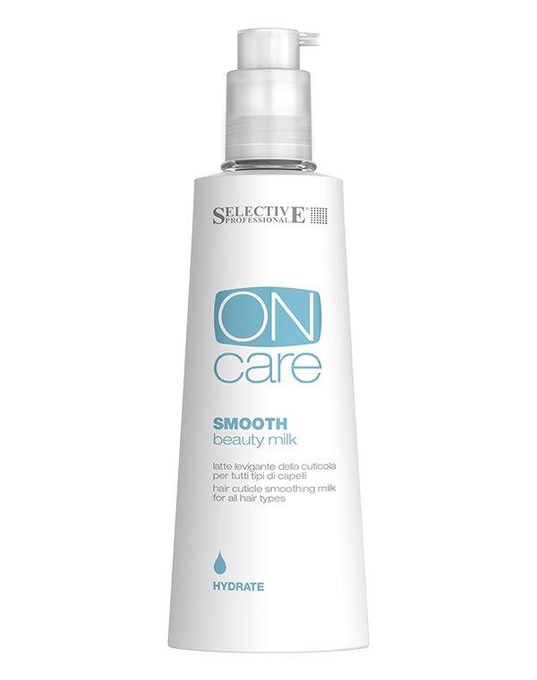 Сыворотка, флюид SelectiveТермозащита<br>Молочко для разглаживания кутикулы Smooth beauty milk   от Selective сглаживает несовершенства волоса. Делает пряди мягкими и послушными, обеспечивает защиту от внешних негативных факторов. После применения волосы обретают жизненный тонус и энергию.<br><br>Бренды: Selective<br>Вид товара: Сыворотка, флюид<br>Область ухода: Волосы<br>Назначение: Восстановление волос, Термозащита, Выпрямление, Для секущихся кончиков<br>Тип кожи, волос: Осветленные, мелированные, Окрашенные, Вьющиеся, Сухие, поврежденные, Жирные, Нормальные, Тонкие<br>Косметическая линия: ON CARE Nutrition Линия для восстановления поврежденных волос