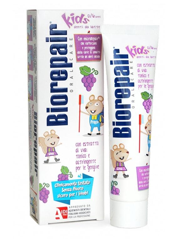 Зубная паста детская виноград (от 0 до 6 лет), Biorepair Kids, 50 мл chicco зубная паста chicco детская клубника 50 мл