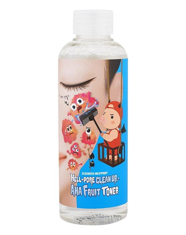 Тоник, лосьон Elizavecca Тоник-пилинг на основе фруктовых кислот Hell Pore Clean Up Aha Fruit Toner Elizavecca, 200 мл маска elizavecca hell pore clean up mask