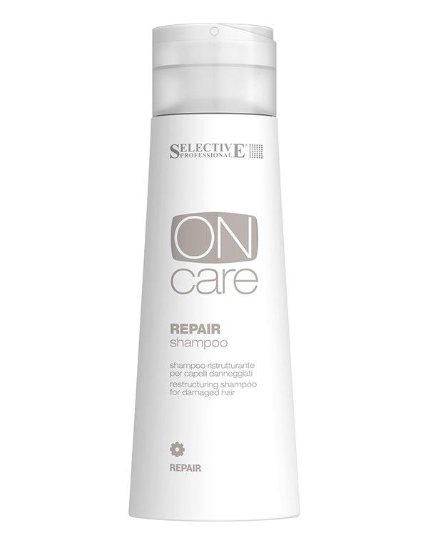 Восстанавливающий шампунь для поврежденных волос, SelectiveШампуни для лечения волос<br>Шампунь Repair деликатно очищает волосы, одновременно восстанавливая их и укрепляя изнутри. Приводит в норму гидролитический баланс, придает волосам мягкость и дополнительный объем.<br><br>Бренды: Selective<br>Вид товара: Шампунь<br>Область ухода: Волосы<br>Назначение: Восстановление волос, Для объема<br>Тип кожи, волос: Осветленные, мелированные, Окрашенные, Сухие, поврежденные, Тонкие<br>Косметическая линия: ON CARE Nutrition Линия для восстановления поврежденных волос<br>Объем мл: 1000