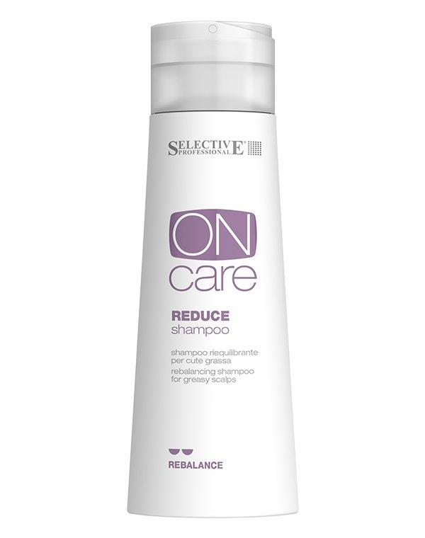 Шампунь SelectiveШампуни для жирных волос<br>Восстанавливающий шампунь для жирной кожи головы Reduce Shampoo нормализует функцию сальных желез, предотвращает их повышенную секрецию. Инновационные комплексы от Selective, входящие в состав средства, нормализуют обменные процессы в клетках и придают во...<br><br>Бренды: Selective<br>Вид товара: Шампунь<br>Область ухода: Волосы<br>Назначение: Очищение волос<br>Тип кожи, волос: Жирные, Жирная и комбинированная, Нормальные<br>Косметическая линия: ON CARE Scalp Specifics Линия для лечения кожи головы<br>Объем мл: 250