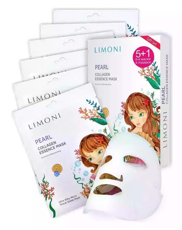 Купить Набор Limoni, Набор масок для лица с жемчужной пудрой и коллагеном 6шт Pearl Collagen Set LIMONI, КОРЕЯ, РЕСПУБЛИКА