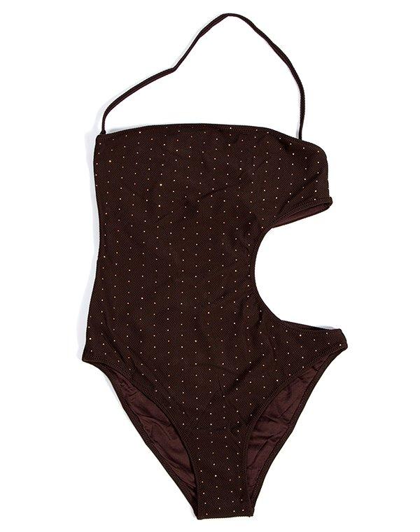 Patrizia Pepe купальник монокини коричневый со стразами BEACHWEARКупальники<br>Состав: 80% полиамид, 20% эластан<br><br>Размер: L,M,S,XS<br>Цвет: Коричневый