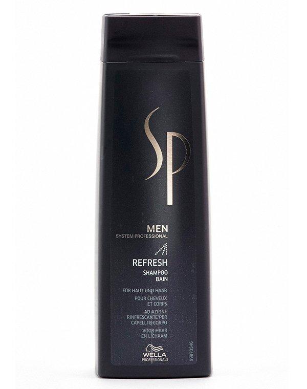 Шампунь освежающий Refresh Shampoo Men Wella SPШампунь используется на первом этапе ухода за мужскими локонами для очищения.<br><br>Бренды: Wella System Professional<br>Вид товара: Шампунь<br>Область ухода: Голова, Волосы<br>Назначение: Увлажнение и питание, Очищение волос<br>Тип кожи, волос: Жирные, Нормальные, Тонкие<br>Косметическая линия: Линия SP MEN ухода за волосами для мужчин