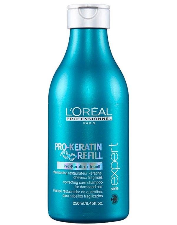 Восстанавливающий и укрепляющий шампунь с кератином LorealШампуни для лечения волос<br>Шампунь вернет локонам природную силу и сияние. Он укрепит волоски, делая прическу более объемной и густой.<br><br>Бренды: Loreal Professional<br>Вид товара: Шампунь<br>Область ухода: Волосы<br>Назначение: Восстановление и защита<br>Тип кожи, волос: Осветленные, мелированные, Окрашенные, Вьющиеся, Сухие, поврежденные, Нормальные, Тонкие<br>Косметическая линия: Линия Keratin Refil восстанавливающий уход с кератином