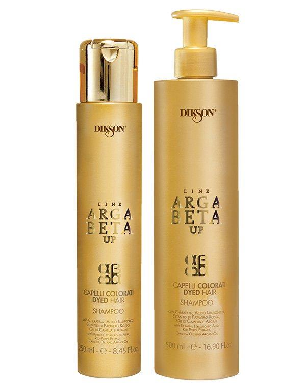 Шампунь DiksonШампуни для окрашеных волос<br>Кератин в В комплексе с гиалуроновой кислотой регенерирует и увлажняет волосы, не утяжеляя их, создавая мощную anti-age защиту.<br><br>Бренды: Dikson<br>Вид товара: Шампунь<br>Область ухода: Волосы<br>Назначение: Увлажнение и питание, Защита цвета, Восстановление и защита<br>Тип кожи, волос: Осветленные, мелированные, Окрашенные, Сухие, поврежденные<br>Косметическая линия: Линия Argabeta Up Color для окрашенных волос<br>Объем мл: 500
