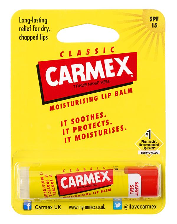 Бальзам CARMEX Солнцезащитный и увлажняющий бальзам для губ SPF 15 классический, стик в блистере, CARMEX