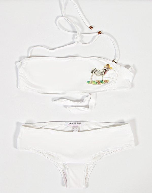 Patrizia Pepe купальник раздельный белый бандо с принтом на бюсте FASCIA BEACHWEARБикини<br>Состав: 86% полиамид, 14% эластан<br><br>Размер: S,M,L<br>Цвет: Белый