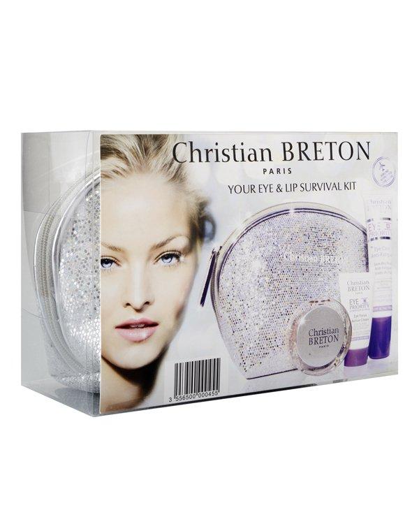 Косметический набор Christian Breton Набор Искрящийся 3 препарата в подарочной косметичке: гель Лучистый взгляд + крем для век Активный + бальзам для губ Paris Christian Breton
