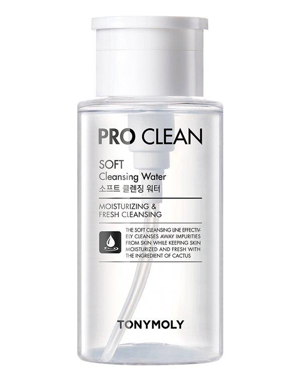 Очищающая вода Pro Clean Soft Cleansing Water, Tony MolyМицеллярная вода<br>Мицеллярная вода деликатно удалит остатки макияжа, излишки кожного сала и частицы загрязнений. Микроскопические мицеллы, словно губка, поглощают остатки косметических средств.<br><br>Бренды: Tony Moly<br>Вид товара: Тоник, лосьон<br>Область ухода: Вокруг глаз, Лицо, Губы, Шея и подбородок<br>Назначение: Очищение и демакияж, Ежедневный уход<br>Тип кожи, волос: Сухая, Увядающая, Жирная и комбинированная, Нормальная, Чувствительная, С куперозом<br>Возрастная группа: Более 40, До 30, До 40
