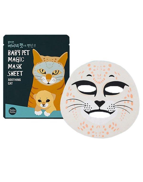 Тканевая маска-мордочка смягчающая (Кошка), Holika HolikaКосметика<br>Маска на тканевой основе для ухода за проблемной кожей, склонной к высыпаниям. Устраняет прыщи и акне, предупреждает появление новых гнойных образований.<br>