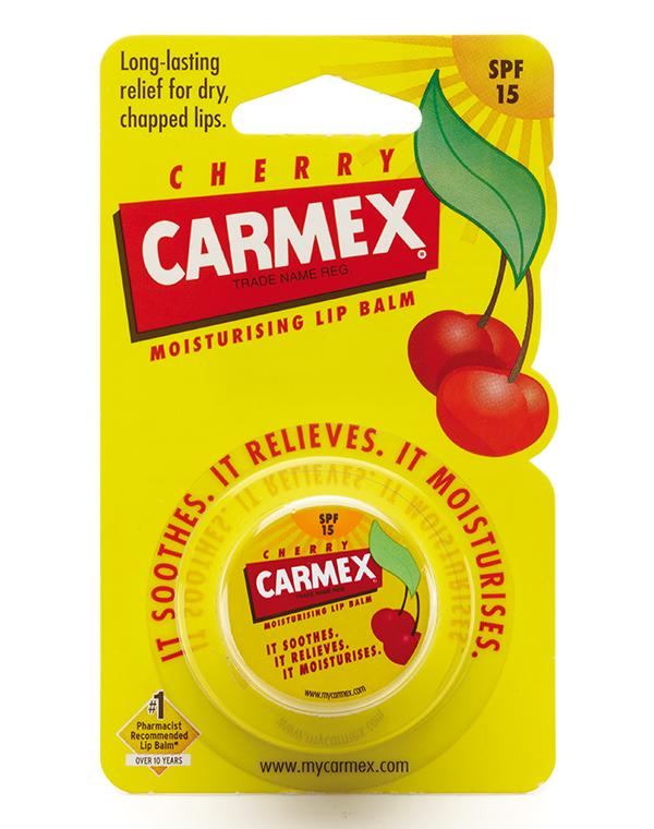 Бальзам CARMEX Солнцезащитный и увлажняющий бальзам для губ SPF 15 с запахом вишни баночка в блистере, CARMEX