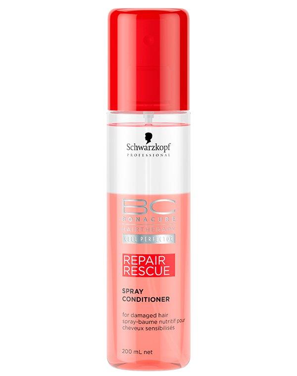 Спрей-кондиционер для волос восстановление SchwarzkopfСпрей рекомендован для интенсивного восстановления слабых, поврежденных и зрелых волос. Его эффект проявляется моментально.<br><br>Бренды: Schwarzkopf Professional<br>Вид товара: Кондиционер, бальзам, Несмываемый уход, защита, Спрей, мусс<br>Область ухода: Волосы<br>Назначение: Восстановление волос, Восстановление и защита<br>Тип кожи, волос: Осветленные, мелированные, Окрашенные, Вьющиеся, Жирные, Нормальные, Тонкие<br>Косметическая линия: Линия Bonacure Repair Rescue восстановление для волос