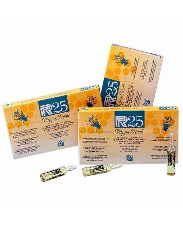 Лосьон для волос в ампулах с защитным и тонизирующим эффектом  P.R.25 Рарра Reale, DiksonСыворотки для восстановления волос<br>Лосьон повышает жизненный тонус волос. Он содержит маточное молочко натурального происхождения. Компонент стимулирует рост здоровых волос и является незаменимым для истонченных локонов.<br><br>Бренды: Dikson<br>Вид товара: Сыворотка, флюид<br>Область ухода: Волосы<br>Назначение: Увлажнение и питание, Восстановление волос, От выпадения волос<br>Тип кожи, волос: Осветленные, мелированные, Окрашенные, Вьющиеся, Сухие, поврежденные, Нормальные, Тонкие<br>Косметическая линия: Линия Лечебные ампульные средства по уходу и восстановлению волос