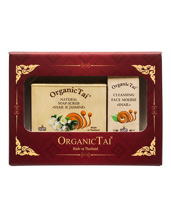 Набор: Пенка для умывания + Натуральное мыло-скраб «С экстрактом улитки и жасмин», Organic Tai