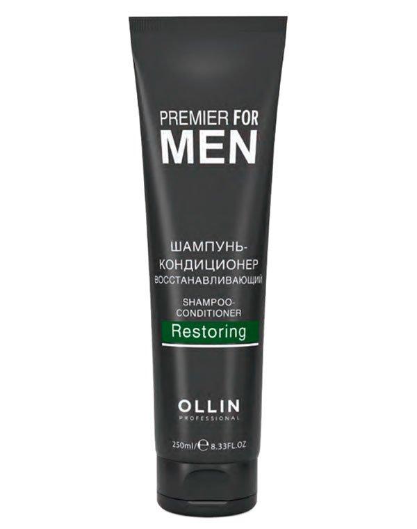 Шампунь-кондиционер восстанавливающий Shampoo-Conditioner Restoring OllinШампуни для жирных волос<br>Шампунь мягко очищает волосы, возвращает жизненный тонус, кондиционирует и насыщает влагой.<br><br>Бренды: Ollin<br>Вид товара: Шампунь, Кондиционер, бальзам<br>Область ухода: Волосы<br>Назначение: Восстановление и защита<br>Тип кожи, волос: Вьющиеся, Сухие, поврежденные, Жирные, Нормальные, Тонкие<br>Косметическая линия: Линия Premier For Men для мужчин