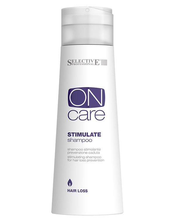 Шампунь SelectiveШампуни от выпадения волос<br>Шампунь Stimulate Shampoo стимулирует клетки к возобновлению естественной работы всех жизненных процессов. В результате укрепления волосяного фо...<br><br>Бренды: Selective<br>Вид товара: Шампунь<br>Область ухода: Волосы<br>Назначение: От выпадения волос, Стимуляция роста<br>Тип кожи, волос: Осветленные, мелированные, Окрашенные, Вьющиеся, Сухие, поврежденные, Жирные, Нормальные, Тонкие<br>Косметическая линия: ON CARE Scalp Specifics Линия для лечения кожи головы<br>Объем мл: 1000