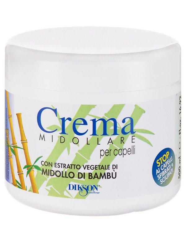 Восстанавливающая маска-крем с бамбуком Crema Midollare Bambu, DiksonБальзамы для сухих волос<br>Крем-бальзам позволит забыть о секущихся кончиках. Он превосходно тонизирует, питает, восстанавливает прядки, позволяет исключить выпадение волос.<br><br>Бренды: Dikson<br>Вид товара: Кондиционер, бальзам<br>Область ухода: Волосы<br>Назначение: Увлажнение и питание, Восстановление волос<br>Тип кожи, волос: Осветленные, мелированные, Окрашенные, Вьющиеся, Сухие, поврежденные, Нормальные, Тонкие<br>Косметическая линия: Линия маски, бальзамы и кондиционеры для волос