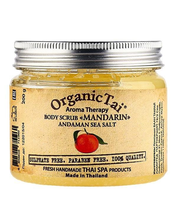 Скраб для тела на основе соли Андаманского моря «Мандарин» Organic Tai, 200 г скрабы и пилинги tasha скраб для тела с ароматом манго mango mousse цвет 350 г