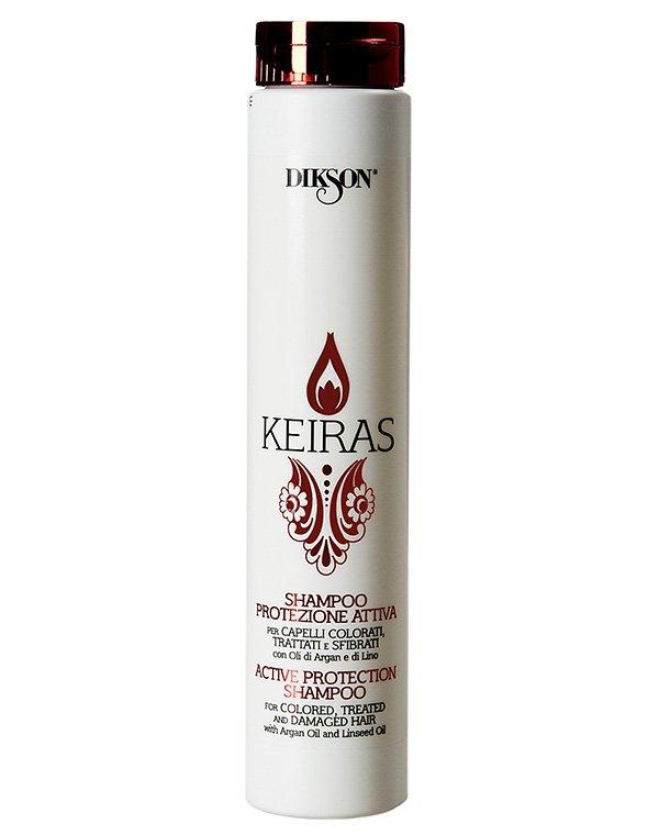Шампунь Активная защита с маслом Арганы и экстрактом семени Льна Shampoo Protezione Attiva, DiksonШампуни для окрашеных волос<br>Активный восстанавливающий шампунь идеально подходит для окрашенных и поврежденных волос.<br><br>Бренды: Dikson<br>Вид товара: Шампунь<br>Область ухода: Волосы<br>Назначение: Защита цвета, Восстановление и защита<br>Тип кожи, волос: Окрашенные, Осветленные, мелированные<br>Косметическая линия: Линия Keiras Colored Hair ухода за окрашенными волосами<br>Объем мл: 250