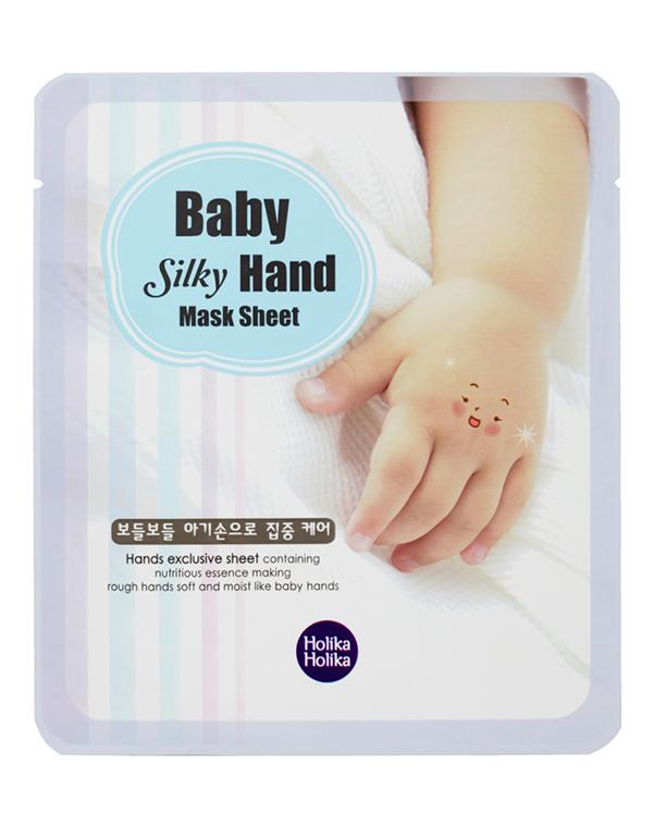 Смягчающая маска для рук Baby Silky, Holika HolikaМаска предназначена для роскошного ухода за нежной кожей рук. Она прекрасно разглаживает дерму, наполняет клетки ценными веществами, содержащимися в вытяжках фруктов.<br><br>Бренды: Holika Holika<br>Вид товара: Маска, Перчатки и носочки<br>Область ухода: Руки<br>Назначение: Увлажнение и питание<br>Возрастная группа: Более 40, До 30, До 40
