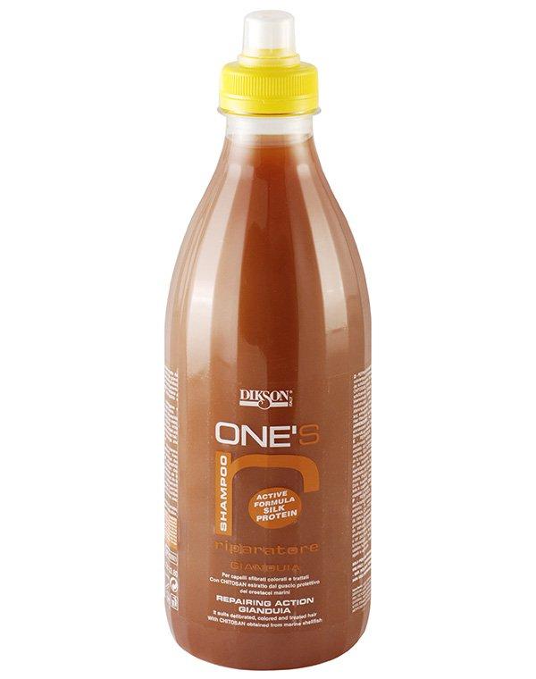Питательный шампунь с хитозаном для ломких и сухих волос One'S Sampoo Riparatore, DiksonШампуни для сухих волос<br>Шампунь разработан для тусклых и безжизненных локонов, склонных к ломкости, а также прядей, подвергшихся агрессивному химическому воздействию.<br><br>Бренды: Dikson<br>Вид товара: Шампунь<br>Область ухода: Волосы<br>Назначение: Увлажнение и питание<br>Тип кожи, волос: Осветленные, мелированные, Окрашенные, Сухие, поврежденные<br>Косметическая линия: Линия One'S Sampoo Шампуни с протеинами шелка