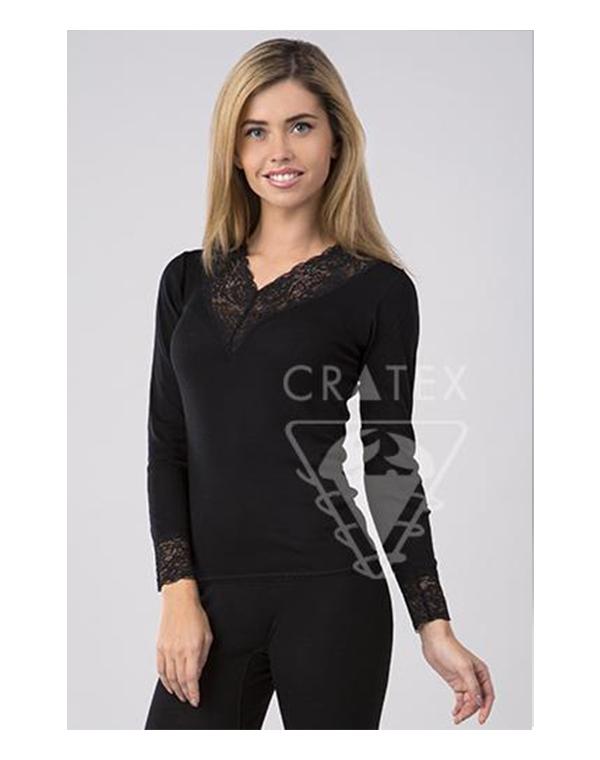 Женское термобелье, кофточка Люкс (цвет черный) Шерсть+Шелк, Cratex кофточка flexi