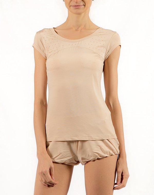 Patrizia Pepe футболка телесная со стразами  BEACHWEARФутболки<br>Состав: 97% вискоза, 3% эластан<br><br>Размер: L,M,S,XL
