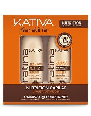 Набор для волос укрепляющий Kativa Keratina, 2х100мл.Наборы для волос<br>Средства на основе кератина – это быстрый способ устранить даже сильные повреждения волос и укрепить их изнутри. Шампунь и кондиционер подходят для частого ухода, запечатывают травмированные участки и секущиеся кончики.<br><br>Бренды: Kativa<br>Вид товара: Шампунь, Кондиционер, бальзам<br>Область ухода: Волосы<br>Назначение: Ежедневный уход, Восстановление волос, Очищение волос, Для секущихся кончиков, Восстановление и защита<br>Тип кожи, волос: Осветленные, мелированные, Окрашенные, Вьющиеся, Сухие, поврежденные, Жирные, Нормальные, Тонкие