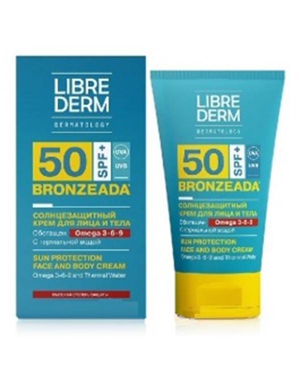 Крем LibredermКрема для восстановления кожи лица<br>Тающая нежная текстура крема SPF50 позволит быстро нанести средство на кожу. Препарат содержит Омега 3-6-9 и термальную воду, он прекрасно увлажняет кожные покровы, устраняя сухость и дискомфорт.<br><br>Бренды: Librederm<br>Вид товара: Крем<br>Область ухода: Тело<br>Назначение: Солнцезащита, Восстановление и защита<br>Тип кожи, волос: Сухая, Увядающая, Жирная и комбинированная, Нормальная, Чувствительная, С куперозом<br>Возрастная группа: Более 40, До 30, До 40<br>Косметическая линия: Линия Bronzeada