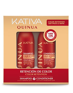 Набор для волос Защита цвета Kativa Quinua, 2х100млШампуни для окрашеных волос<br>Набор миниатюр (шампунь+кондиционер) с комплексом аминокислот и экстрактом киноа – незаменимое средство для восстановления цвета натуральных или окрашенных волос. Средства защищают локоны от выгорания, восстанавливают структуру.<br>