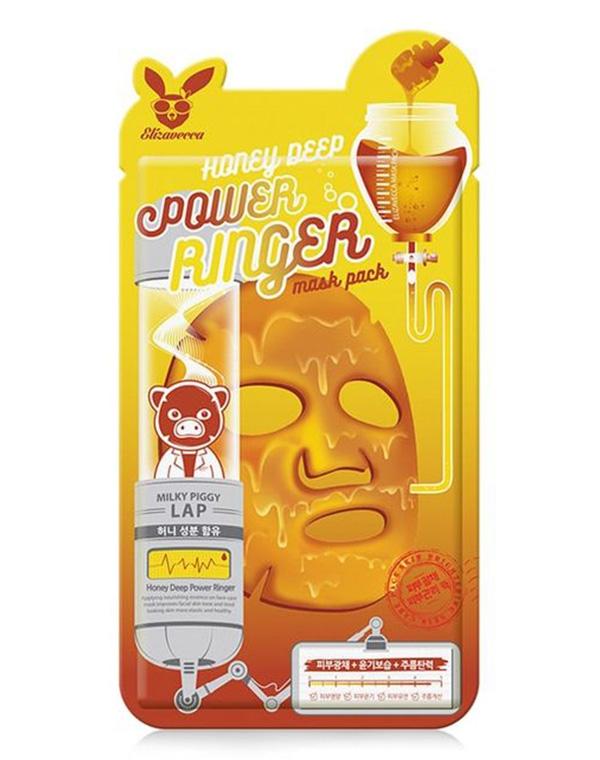 цена на Питательная маска для лица на основе мёда Honey Deep Power Ringer Mask Pack Elizavecca, 23 мл х 10 шт
