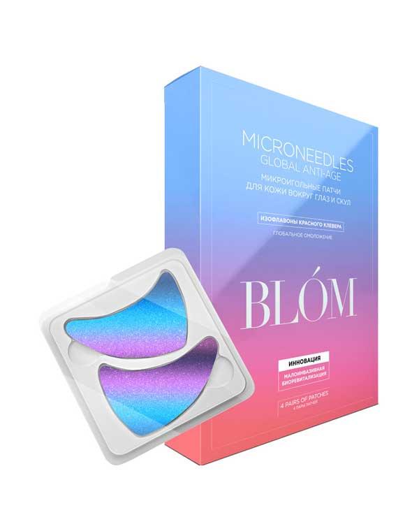 Купить Патчи, нетканные маски BLOM, Патчи микроигольные для зрелой кожи GlobalAnti-Age 2 пары/4 пары BLOM, РОССИЯ