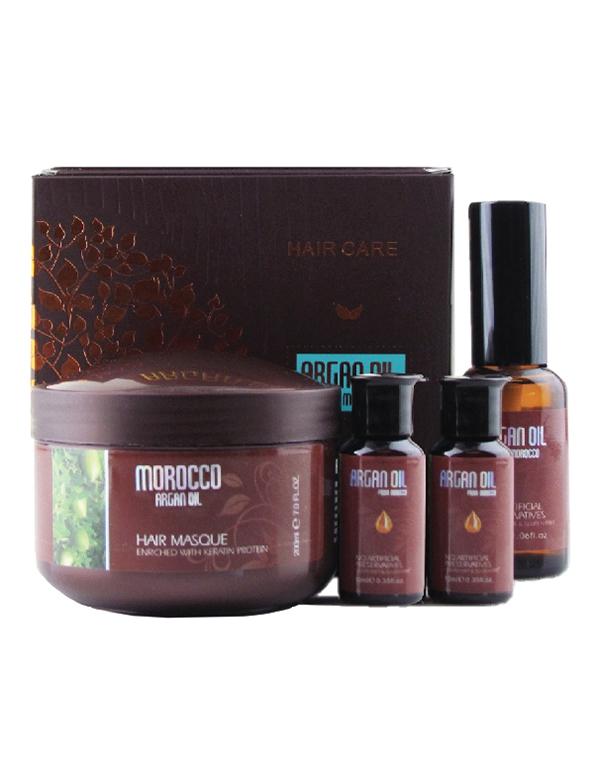 Подарочный набор для волос (питательная маска, 200 мл + масло арганы, 2*10мл  1*30мл), Argan Oil from Morocco. - Поврежденная упаковка