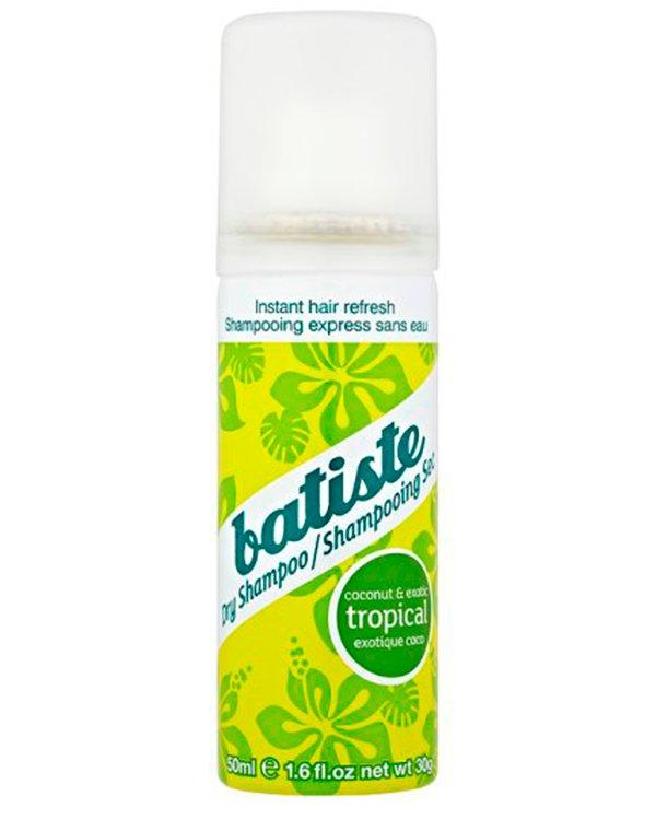 Шампунь BatisteСухой шампунь<br>Шампунь TROPICAL обладает легким ароматом кокоса и экзотического тепла с отдаленных островков Карибского моря.<br><br>Бренды: Batiste<br>Вид товара: Шампунь<br>Область ухода: Волосы<br>Назначение: Восстановление волос, Стайлинг, Очищение волос<br>Тип кожи, волос: Осветленные, мелированные, Окрашенные, Вьющиеся, Сухие, поврежденные, Жирные, Нормальные, Тонкие<br>Косметическая линия: Линия Fragrance - ароматы<br>Объем мл: 50