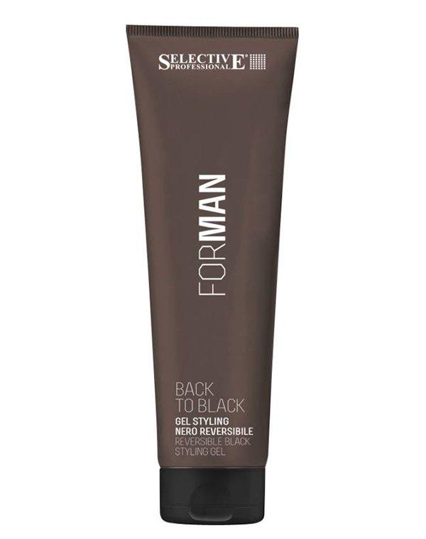 Гель, воск Selective Гель для укладки волос со смываемым черным пигментом для маскировки седины Back to black, Selective