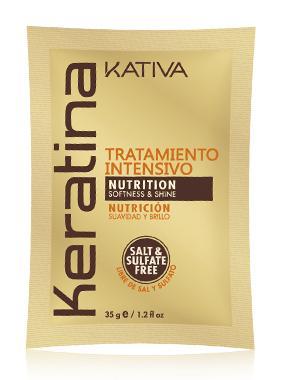 Маска с кератином Kativa для поврежденных и хрупких волос KERATINA, саше 35г