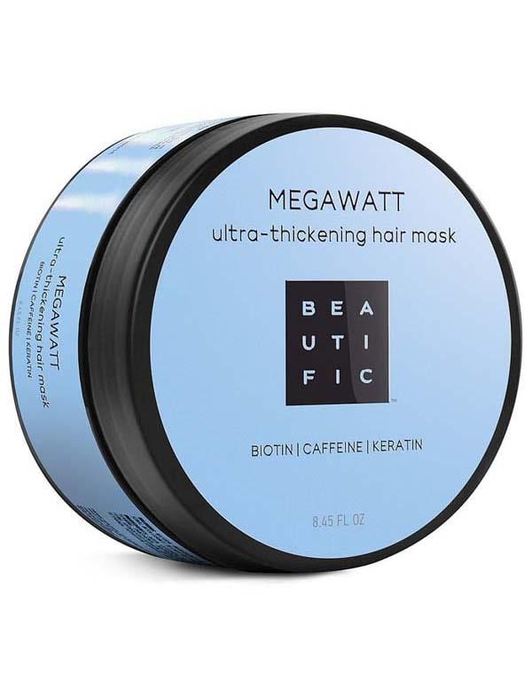 Маска для ультра-объема и активного роста волос с биотином, кофеином и кератином Megawatt Beautific