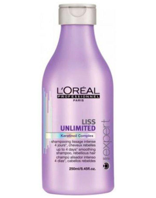 Шампунь Loreal ProfessionalШампуни для сухих волос<br>Шампунь сделает локоны невероятно мягкими и гладкими. Он наполнит полезными веществами непослушные и жесткие волосы, облегчит расчесывание.<br><br>Бренды: Loreal Professional<br>Вид товара: Шампунь<br>Область ухода: Волосы<br>Назначение: Выпрямление<br>Тип кожи, волос: Осветленные, мелированные, Окрашенные, Вьющиеся, Сухие, поврежденные<br>Косметическая линия: Линия Liss Unlimited для разглаживания непослушных волос